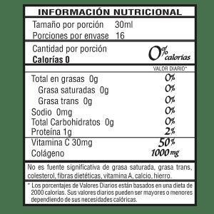 Bebida funcional de colágeno de uva 500 ml vista en reverso con información nutricional