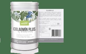 Colagmin plus 200 g vista frontal y vista Reversa con las especificaciones del producto