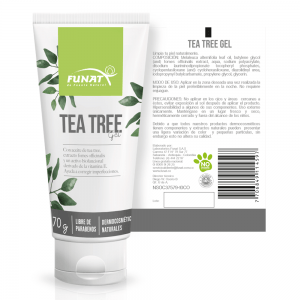 Tea tree gel 70g vista frontal y reverso etiqueta abierta con especificaciones del producto