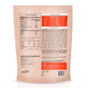 Whey protein hardcore 2 LB vista en reverso con especificaciones del producto